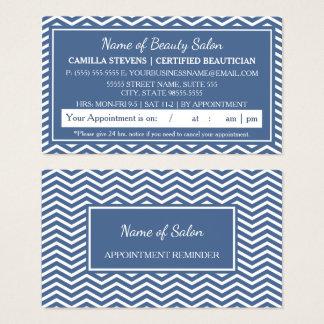 Stylish Blue Chevron Salon Appointment Reminder Business Card
