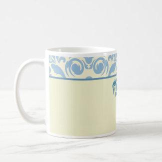 Stylish blue floral wedding gift coffee mugs