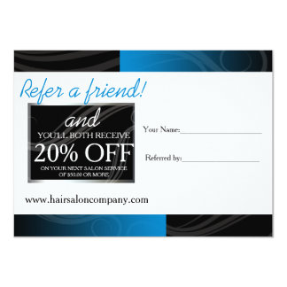 stylish blue hair salon referral card