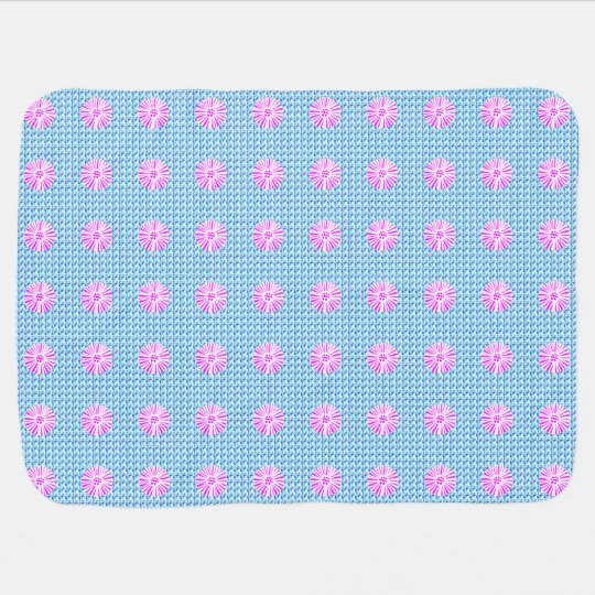 Stylish-Blue--Mod-Pink-Floral--Baby-Blanket Baby Blanket