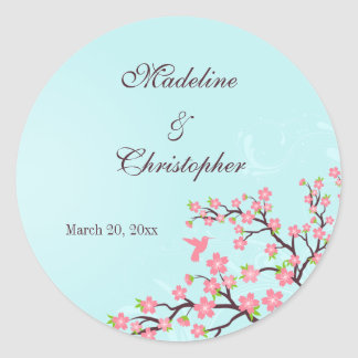 Stylish blue pink cherry blossoms wedding stickers