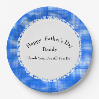 Stylish-Blue-Plaid-Father's-Day-Multi-Template 9 Inch Paper Plate