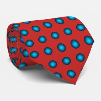 Stylish Blue Polka Dot with Red Background Tie