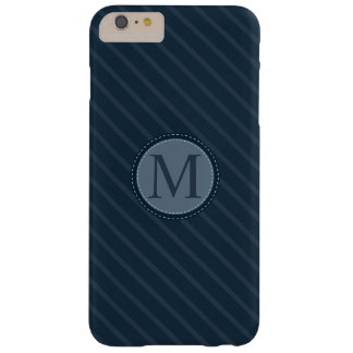 Stylish Blue Stripes Custom Circle Monogram Barely There iPhone 6 Plus Case