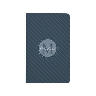 Stylish Blue Stripes Custom Circle Monogram Journals