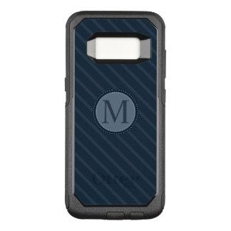 Stylish Blue Stripes Custom Circle Monogram OtterBox Commuter Samsung Galaxy S8 Case