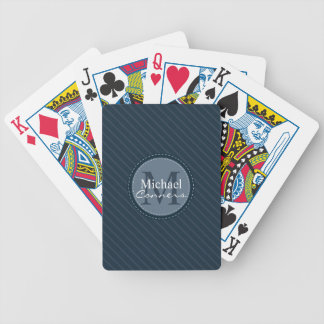 Stylish Blue Stripes Custom Monogram Playing Cards