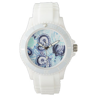 Stylish Blue Watercolor Paisley Pattern Wrist Watch