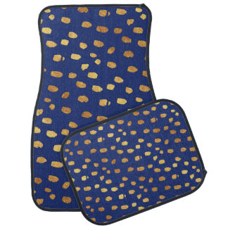 Stylish Blue with Gold Confetti Car Mats