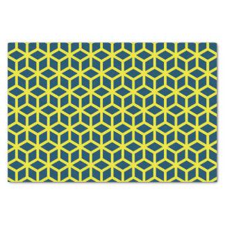 Stylish Blue Yellow Geometric Pattern Tissue Paper