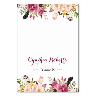 Stylish Boho Floral Feather Wedding Place Escort Card