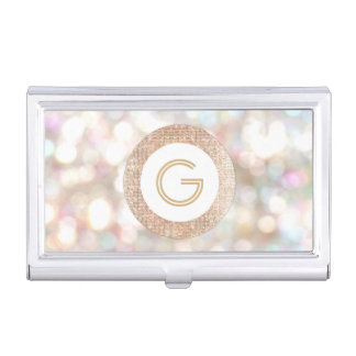 Stylish Bokeh and Rose Gold Sequin Monogram Business Card Holder