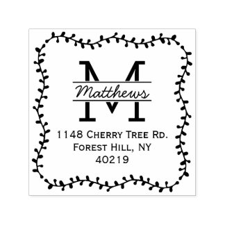 Stylish Botanical Border Custom Monogram Self-inking Stamp