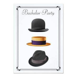 Stylish Bowler Straw Fedora Hat Bachelor Party Card