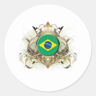Stylish Brazil Classic Round Sticker