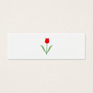 Stylish Bright Red Tulip. Mini Business Card