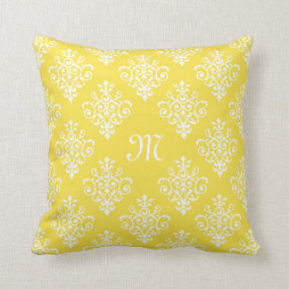 Stylish Bright Yellow Damask With Girly Monogram Throw Pillow