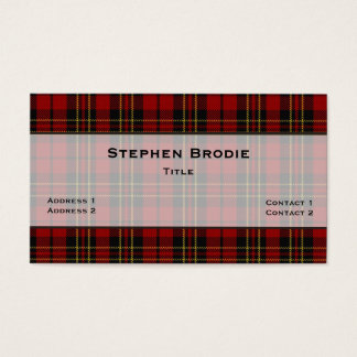 Stylish Brodie Tartan Plaid Custom Business Card