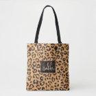 Stylish brown beige watercolor leopard pattern tote bag