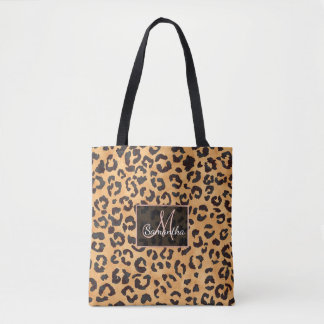 Stylish brown beige watercolor leopard pattern tote bag