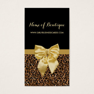Stylish Brown Leopard Print Girly Yellow Ribbon Business Card