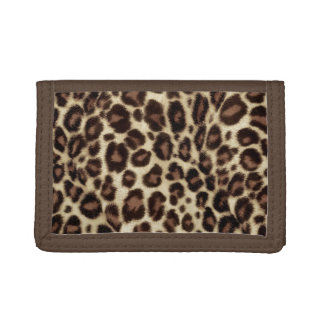 Stylish Brown Leopard Print Women Trifold Wallet