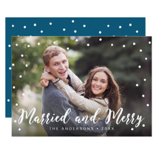 Stylish Brush Married and Merry Holiday Photo Card