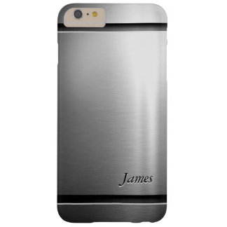 Stylish Brush Metal Stainless Steel Look Barely There iPhone 6 Plus Case