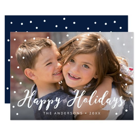 Stylish Brush Script Happy Holidays Photo Card