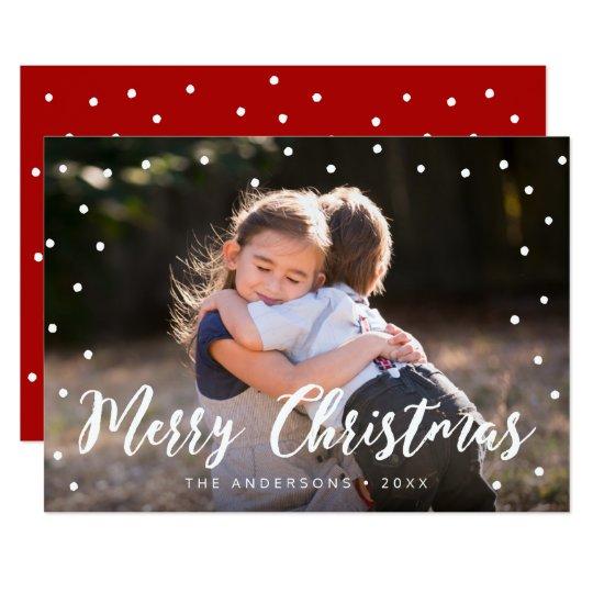 Stylish Brush Script Merry Christmas Holiday Photo Card