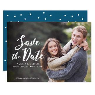 Stylish Brush Script Save the Date Photo Card