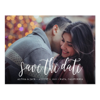 Stylish Brush Script Save the Date Postcard