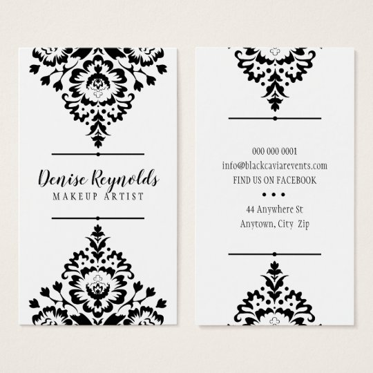 STYLISH BUSINESS elegant pretty damask black white Business Card