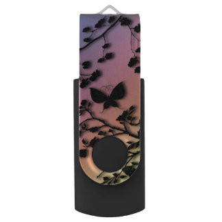 Stylish Butterfly on Rainbow Gradient Swivel USB 2.0 Flash Drive