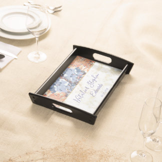 Stylish Cactus and gold marble wedding design Serving Tray