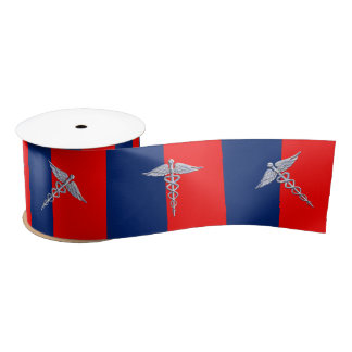 Stylish Caduceus Medical Symbol League Satin Ribbon