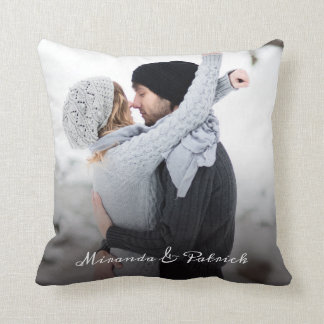 Stylish Calligraphy Create Your Own Couple Photo Throw Pillow