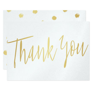 """Stylish Calligraphy Gold """"Thank you"""" Card"""