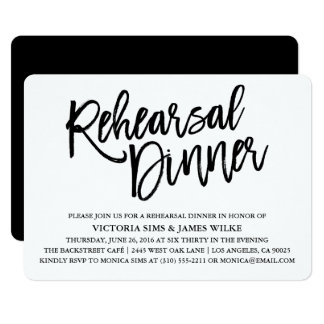 Stylish Calligraphy Rehearsal Dinner Invitation