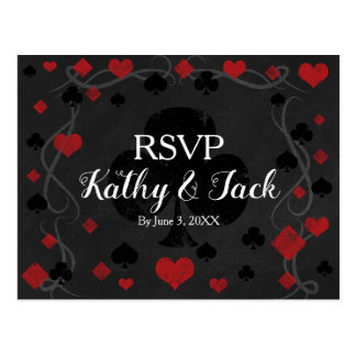 Stylish casino wedding rsvp post card