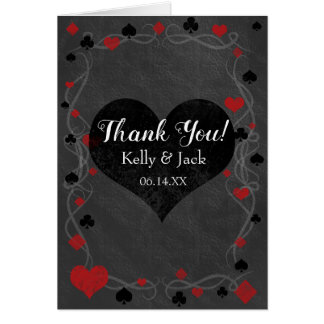 Stylish casino wedding thank you card