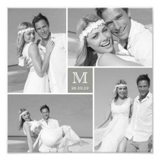 Stylish Center Square Monogram Wedding Photo Print