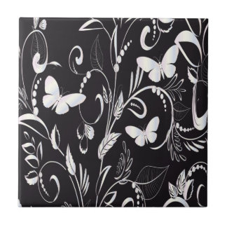 Stylish Chalkboard White Butterflies and Floral Tile