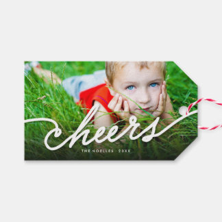 Stylish Cheers White Script Holiday Photo Gift Tag