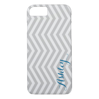 Stylish Chevron Faded Grey Monogram iPhone 7 Case
