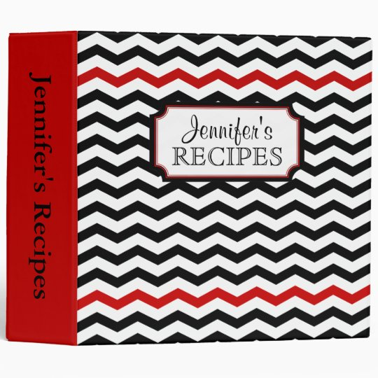 Stylish Chevron Print Personalized Recipe Binder