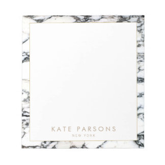 Stylish Chic Black and White Marble Name Notepad
