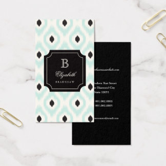 Stylish Chic Black Mint Diamond Ikat Monogram Business Card