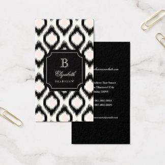 Stylish Chic Black Pink Diamond Ikat Monogram Business Card