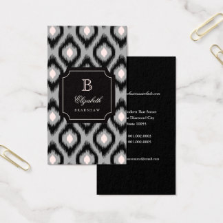 Stylish Chic Black Pink Diamond Ikat Monogram Business Card